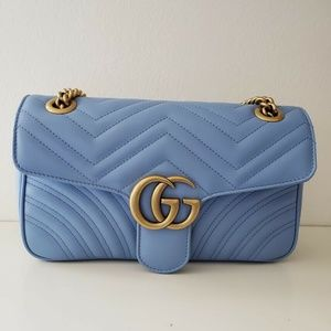 Gucci Marmont Matelasse Shoulder Bag - Blue